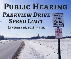 Public Hearing for Parkview Drive Speed Limits