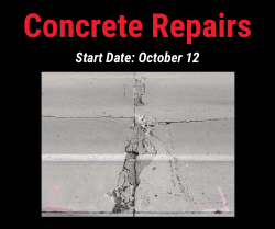 Concrete Repairs, start date October 12