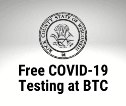 "Rock County Logo with text ""Free COVID-19 Testing at BTC"""