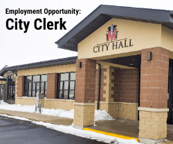 Photo of City Hall with text Employment Opportunity: City Clerk