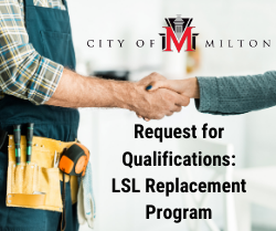Image of people shaking hands with text Request for Qualifications for the LSL Replacement Program