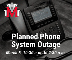 Image of phone with text Planned Phone System Outage