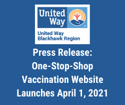 United Way Logo with text Press Release One-Stop-Shop Vaccination Website Launches April 1, 2021