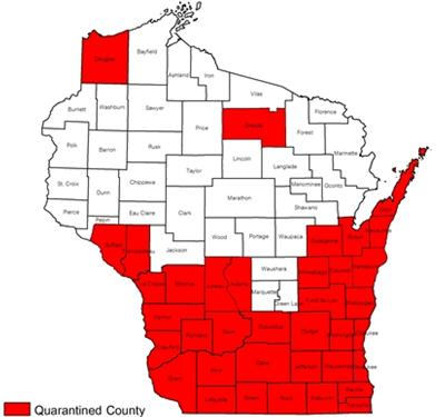 WI EAB Quarantine Map